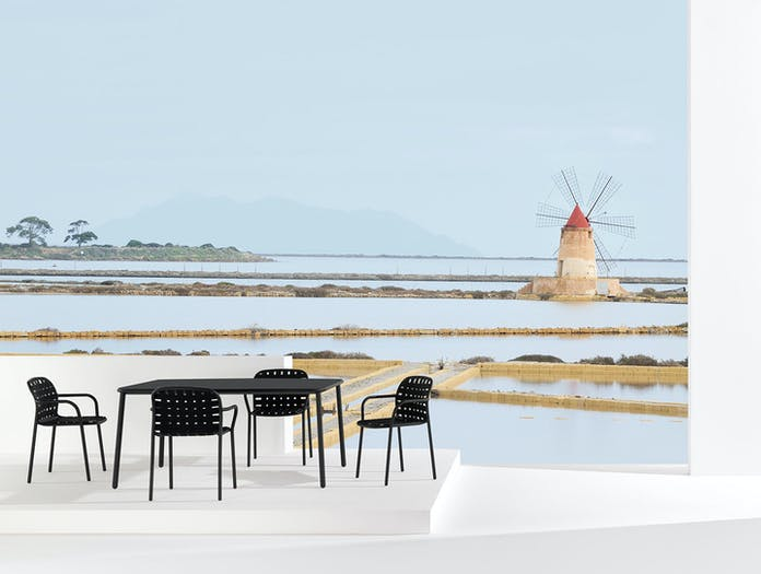 Emu Yard Black Dining Chairs And Table Stefan Diez