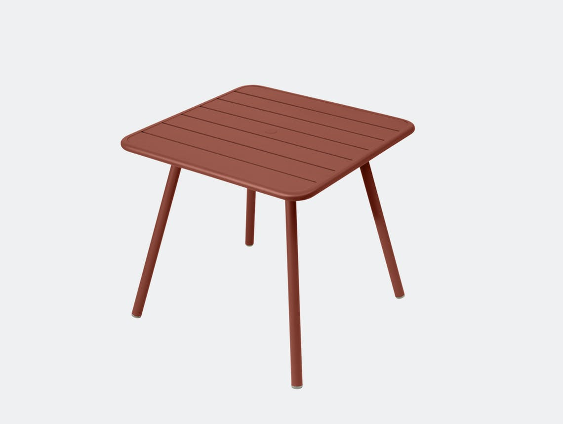 Fermob luxembourg table 80 red ochre