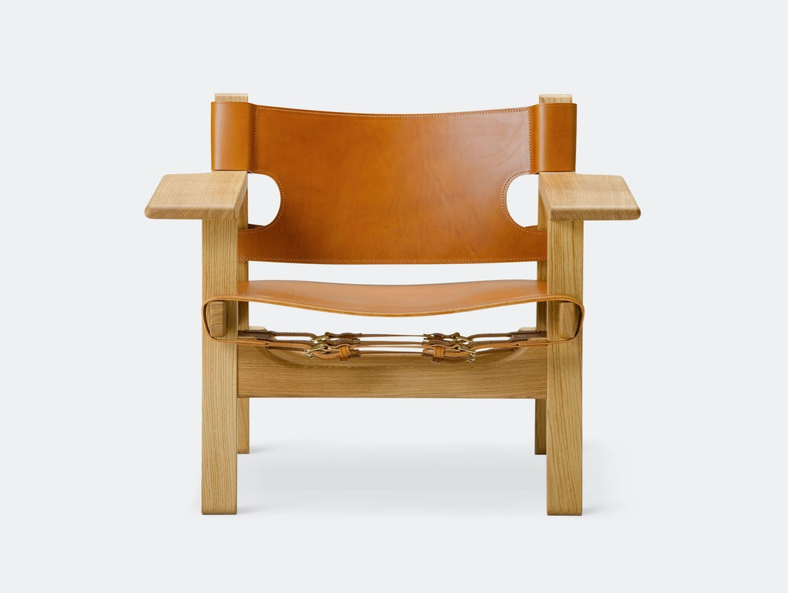 Fredericia Spanish Chair Oiled Oak Cognac Leather Borge Mogensen