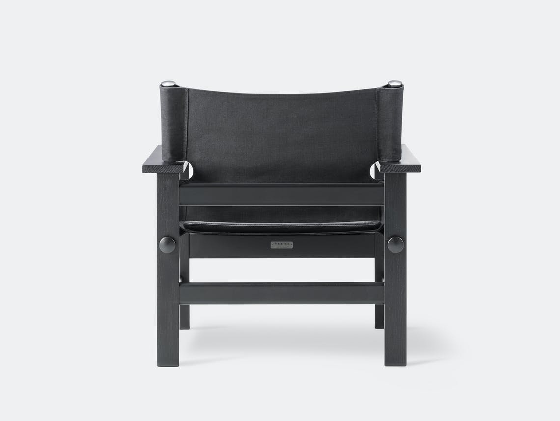 Fredericia canvas chair black leather pad 3