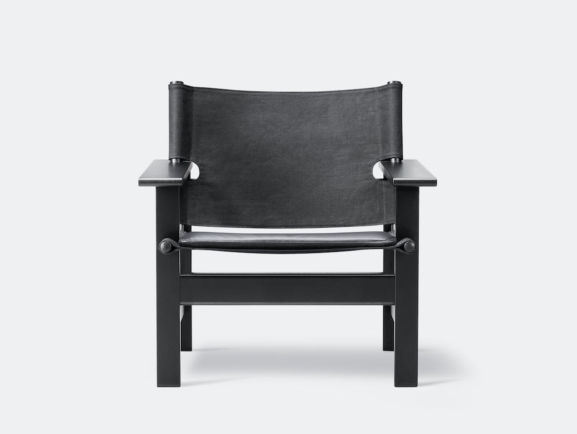 Fredericia canvas chair black leather pad