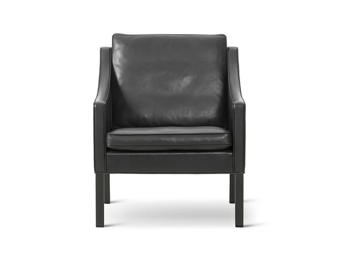 Fredericia 2207 Lounge Chair Black Front Borge Mogensen