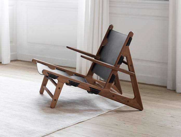 Fredericia Hunting Chair Walnut Black Borge Mogensen