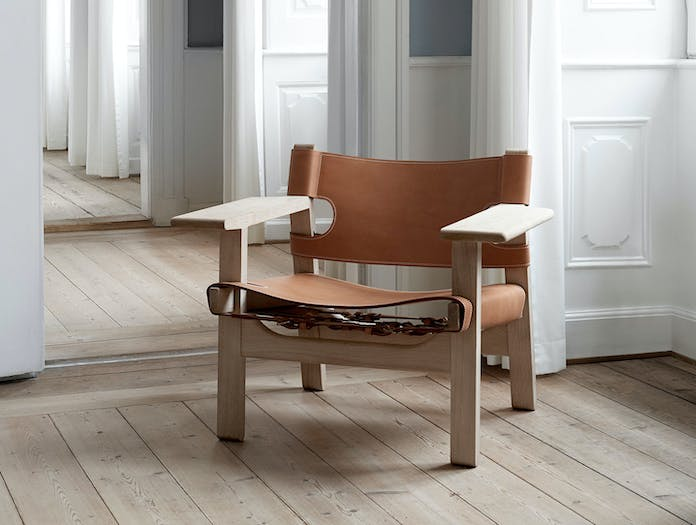 Fredericia Spanish Chair Soaped Oak Nat Leather 2 Borge Mogensen