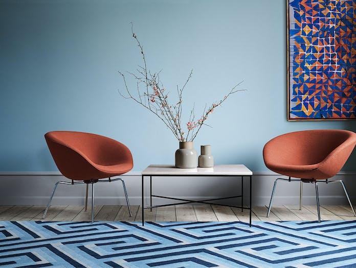 Fritz Hansen Pot Lounge Chair Orange Chrome