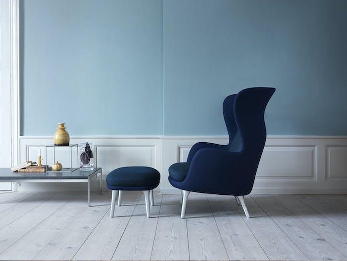 Fritz Hansen Ro Lounge Blue Steellegs