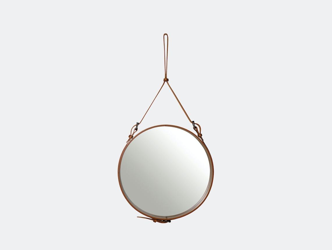 Gubi Adnet Circular Wall Mirror 58 Tan Jacques Adnet