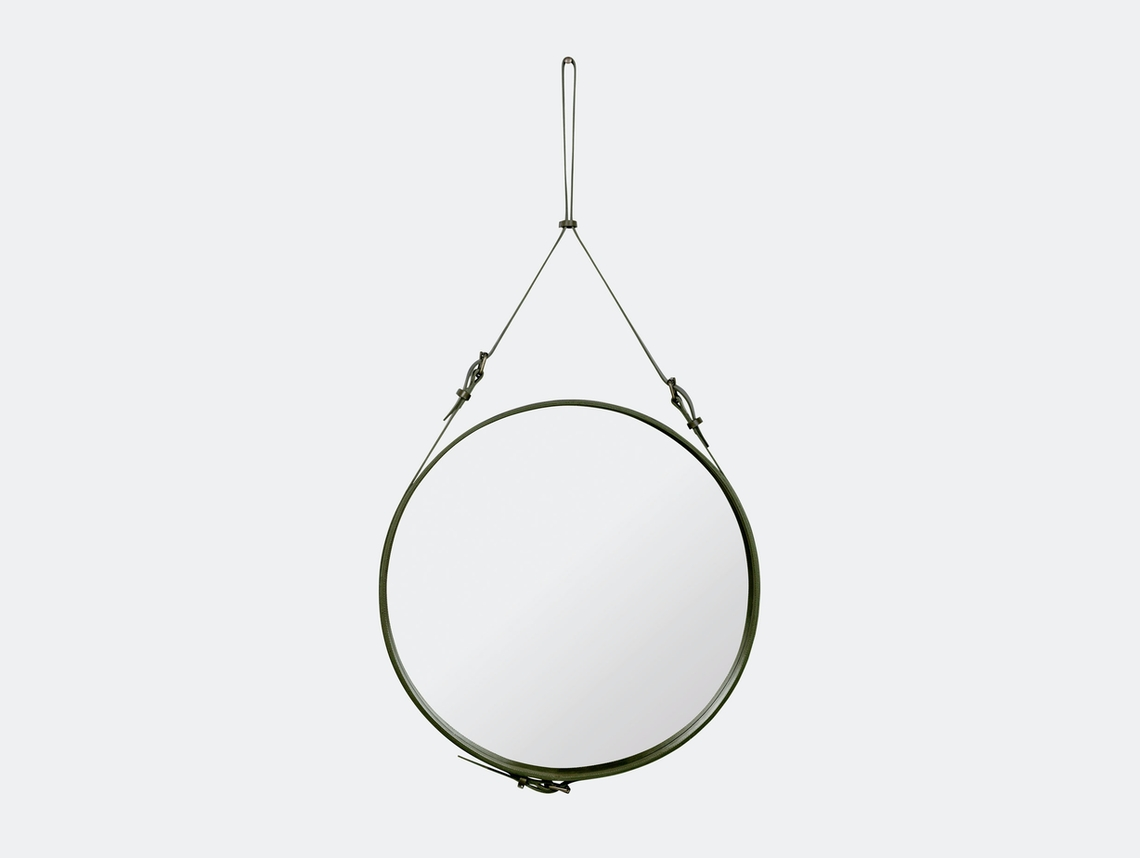 Gubi Adnet Circular Wall Mirror 70 Olive Jacques Adnet