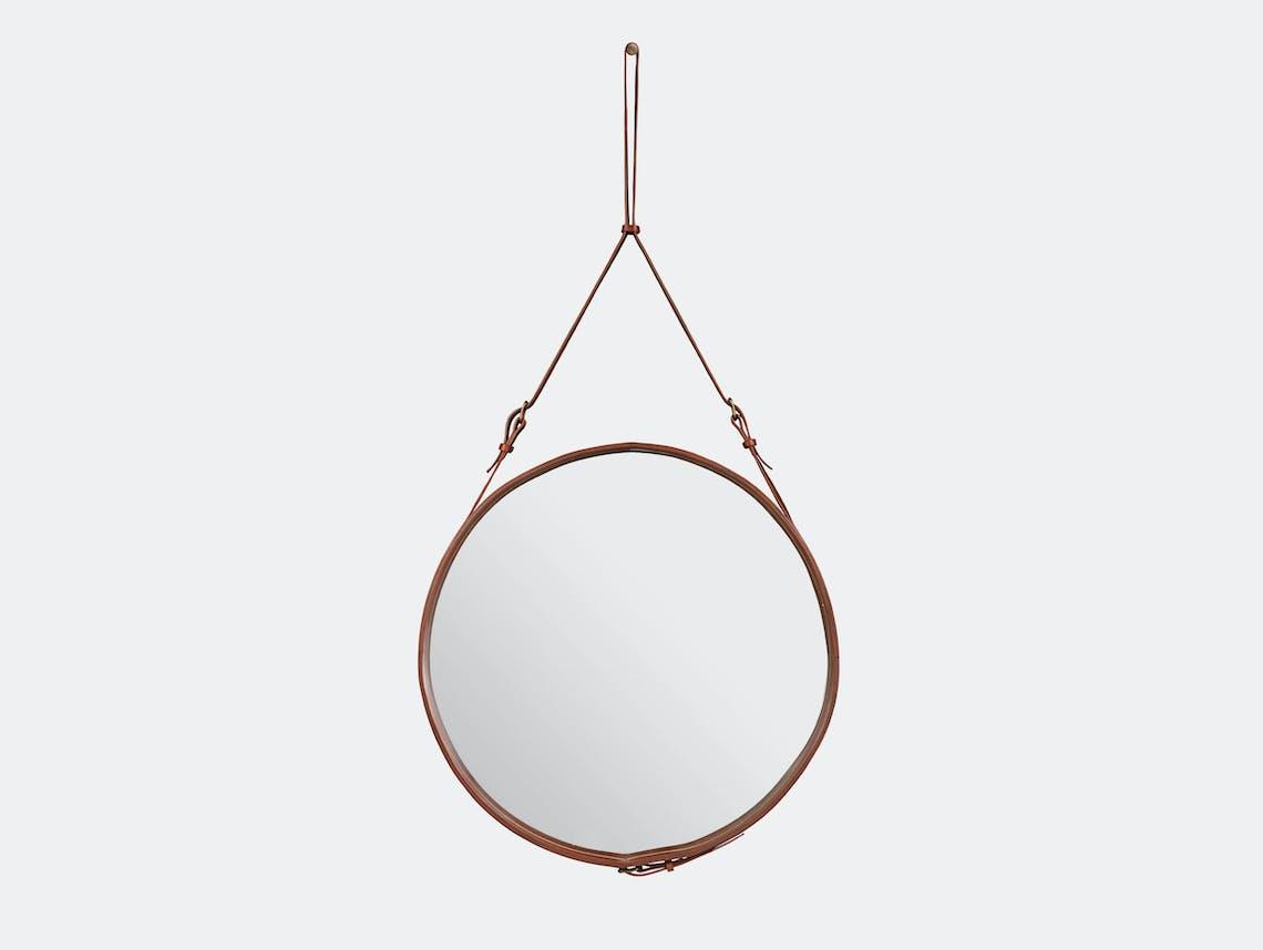 Gubi Adnet Circular Wall Mirror 70 Tan Jacques Adnet