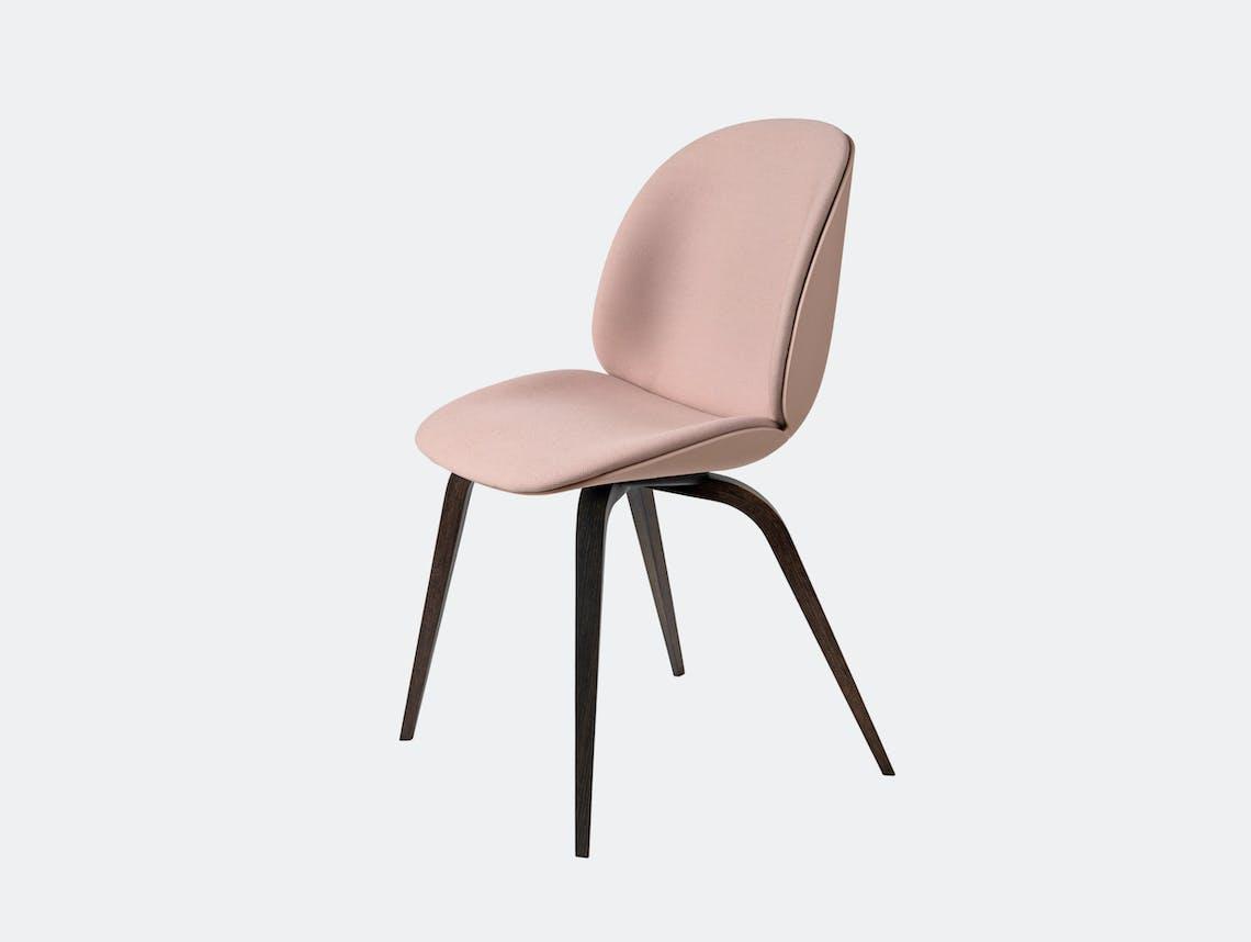 Gubi Beetle Chair Smoked Oak Sweet Pink Steelcut 605 Front Upholstery Gam Fratesi