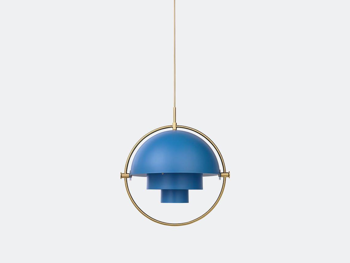 Gubi Multi Lite Pendant Light Brass Blue Louis Weisdorf
