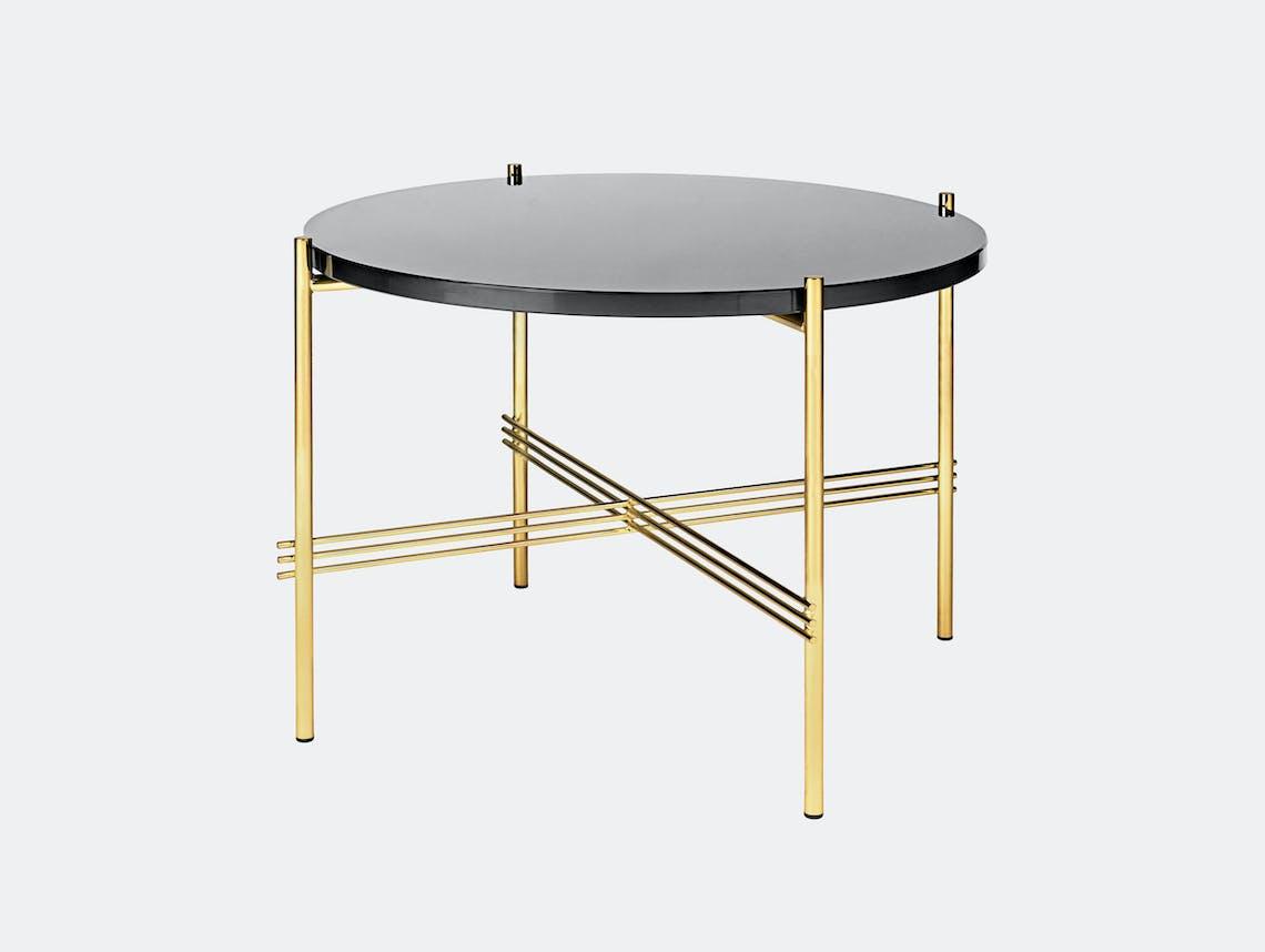Gubi Ts Coffee Table 55 Brass Graphite Black Glass Gam Fratesi