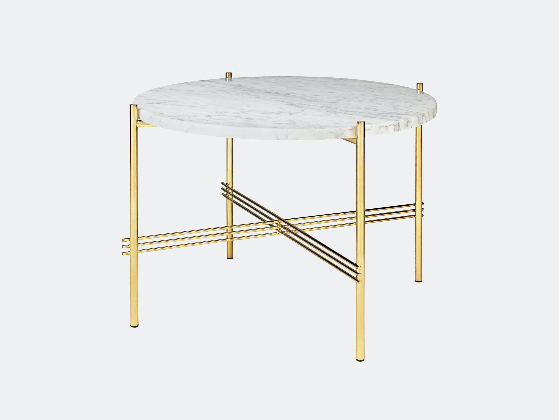Gubi Ts Coffee Table 55 Brass White Marble Gam Fratesi