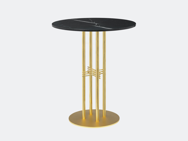 Gubi Ts Column Bar Table Brass Black Marble Gam Fratesi