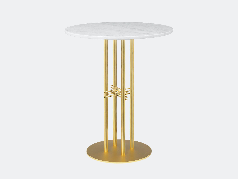 Gubi Ts Column Bar Table Brass White Marble Gam Fratesi