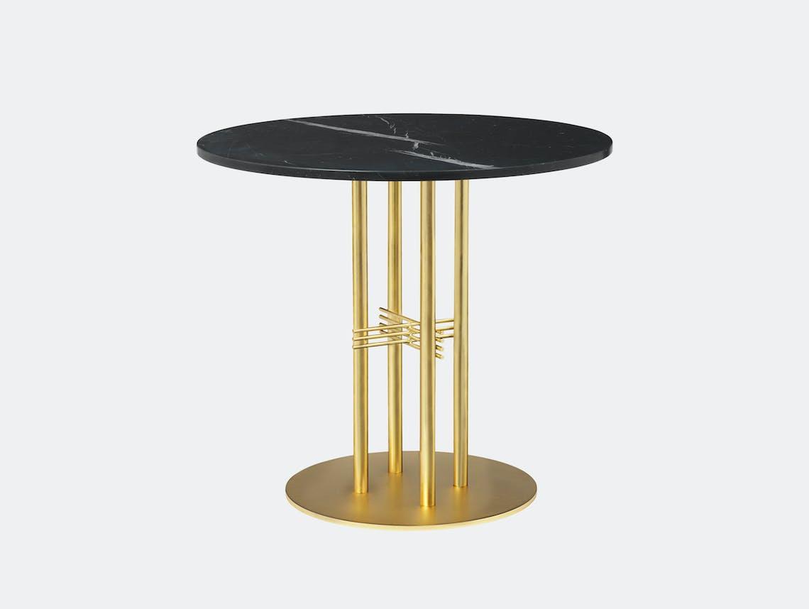 Gubi Ts Column Dining Table Brass Black Marble Gam Fratesi