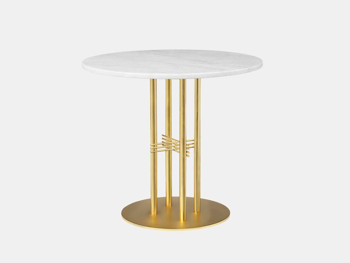 Gubi Ts Column Dining Table Brass White Marble Gam Fratesi