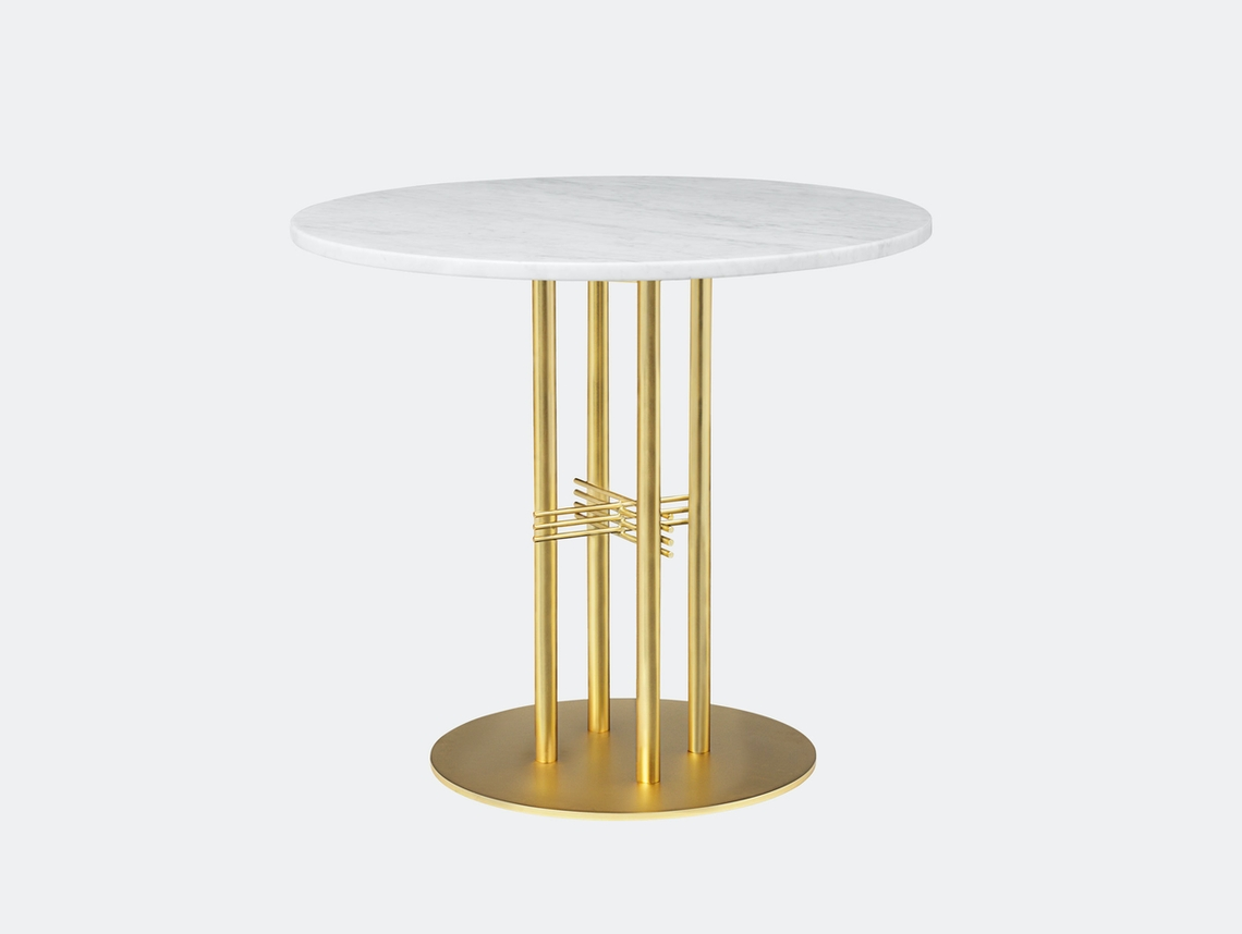 Gubi Ts Column Dining Table Brass White Marble Gam Fratesi