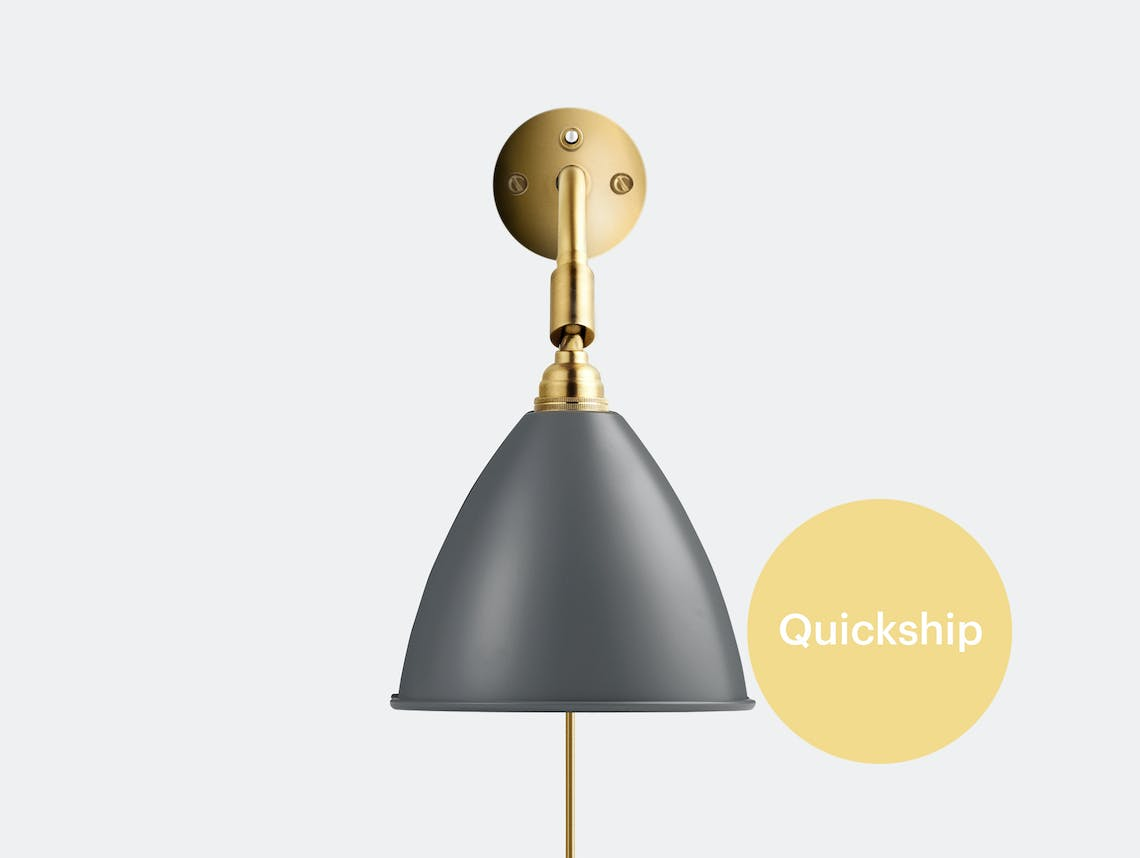 Gubi bl7 wall lamp brass base grey QS