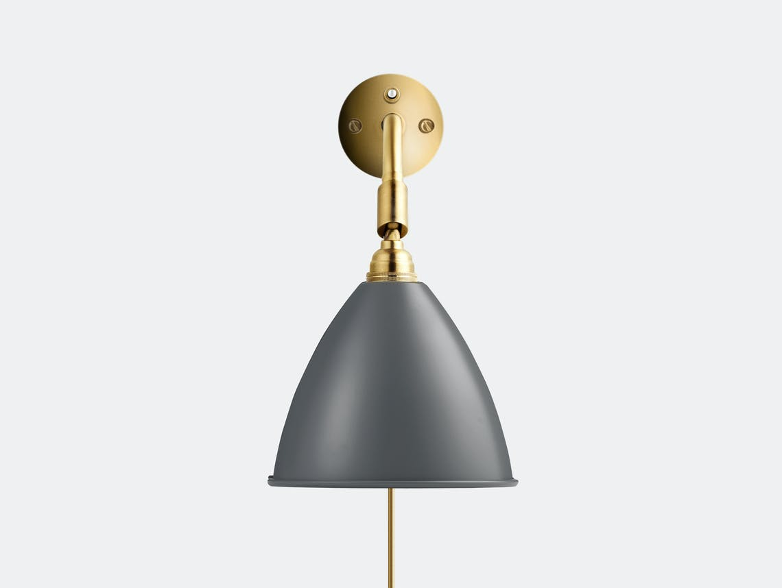 Gubi bl7 wall lamp brass base grey