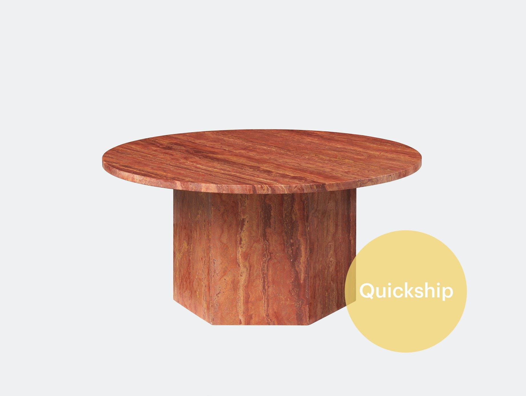 Gubi epic coffee table travertine red