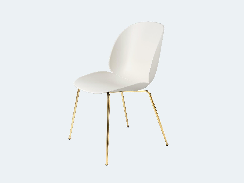 Gubi gamfratesi beetle chair brass alabaster white