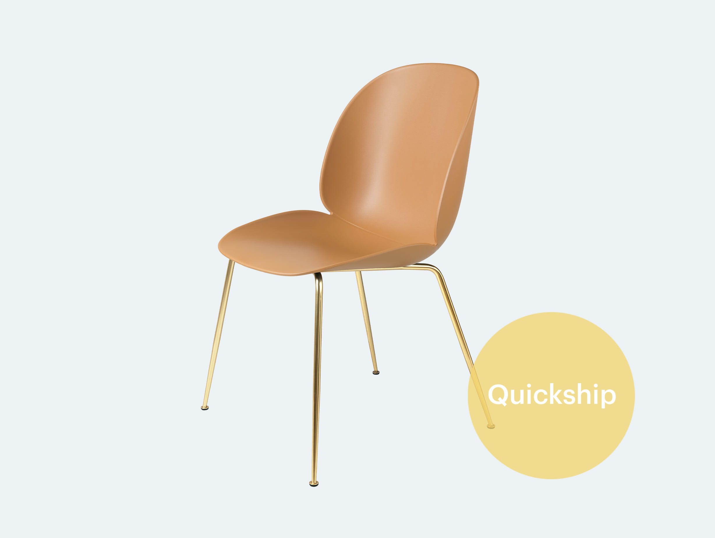 Gubi gamfratesi beetle chair brass amber brown quickship