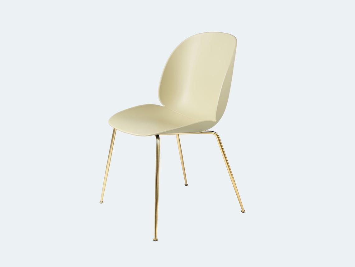 Gubi gamfratesi beetle chair brass pastel green