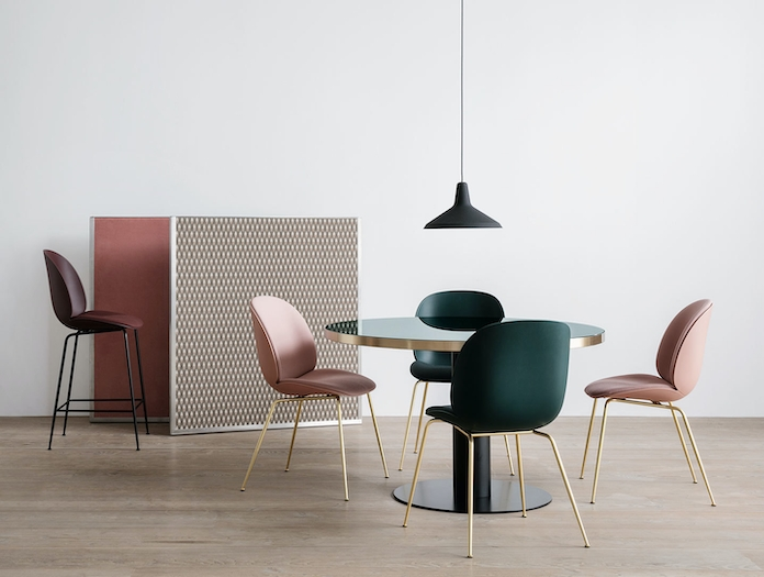 Gubi Beetle Chairs Front Upholstered Brass Legs Gam Fratesi