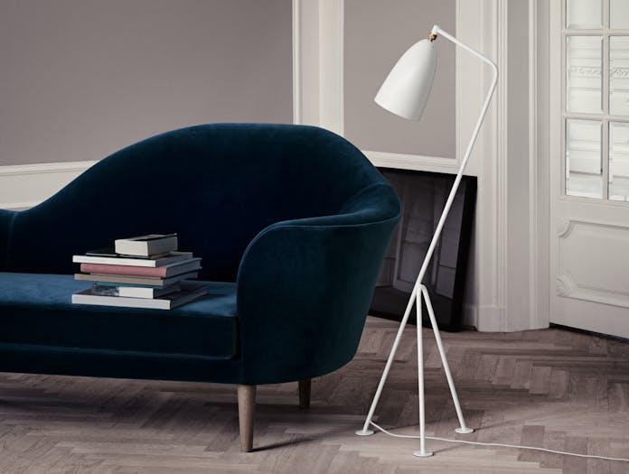 Gubi Grasshopper Floor Lamp White Grand Piano Sofa