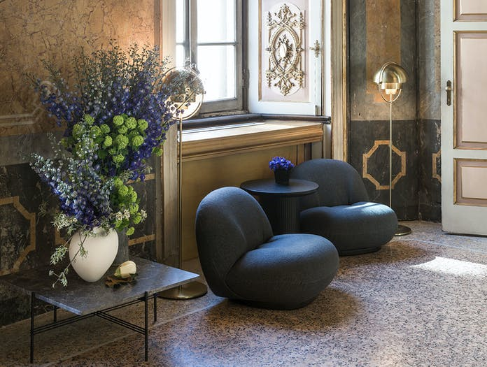 Gubi Ts Coffee Table Multi Lite Floor Lamp Pacha Lounge Chair Moon Lounge Table