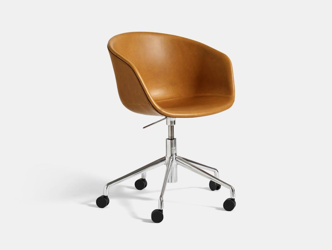 Hay Aac53 Chair Alu Base Leather Silk Cognac Hee Welling
