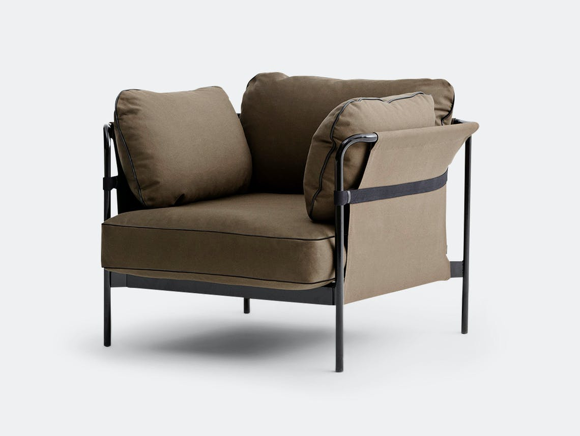 Hay Can Armchair Black Frame Outer Fabric Army Canvas Cushions Army Canvas Ronan And Erwan Bouroullec