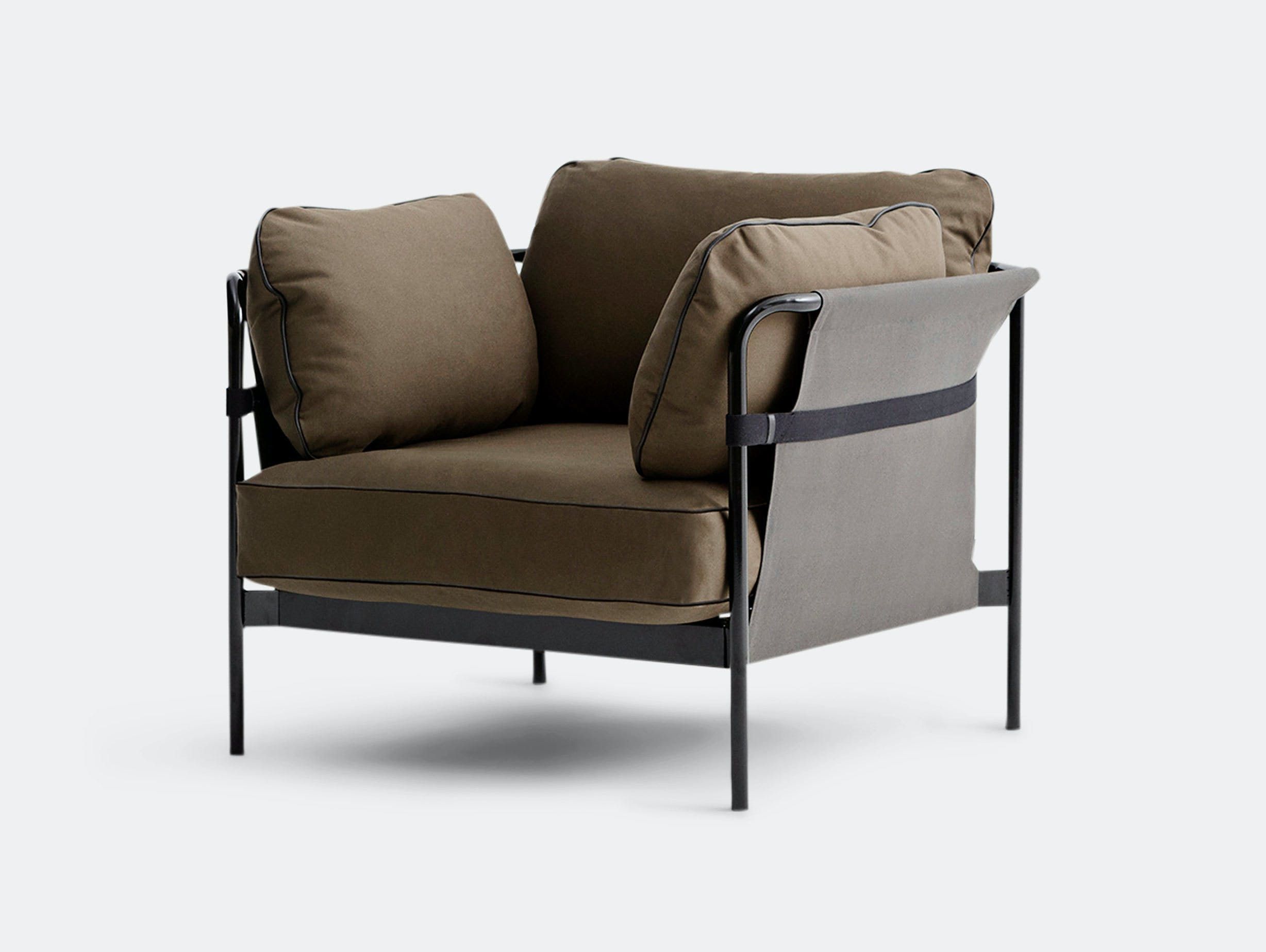 Hay Can Armchair Black Frame Outer Fabric Grey Canvas Cushions Army Canvas Ronan And Erwan Bouroullec