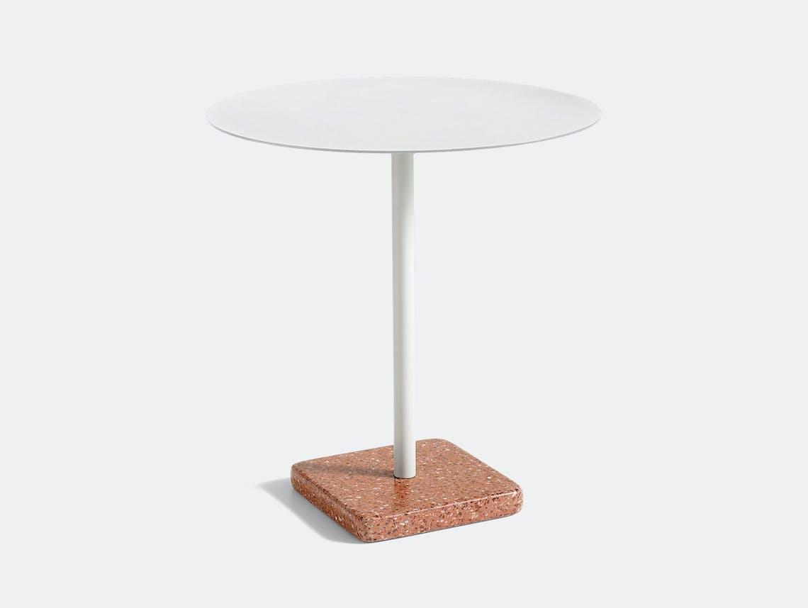 Hay Terrazzo Table Round Red Base Light Grey Top Daniel Enoksson