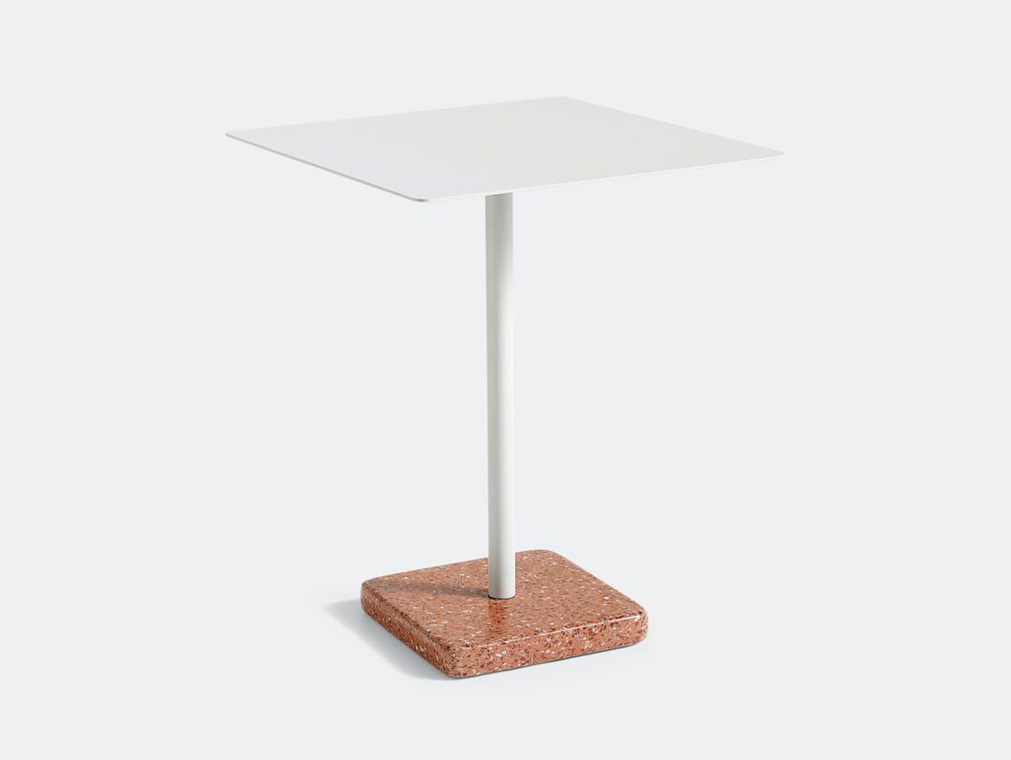 Hay Terrazzo Table Square Red Base Light Grey Top Daniel Enoksson