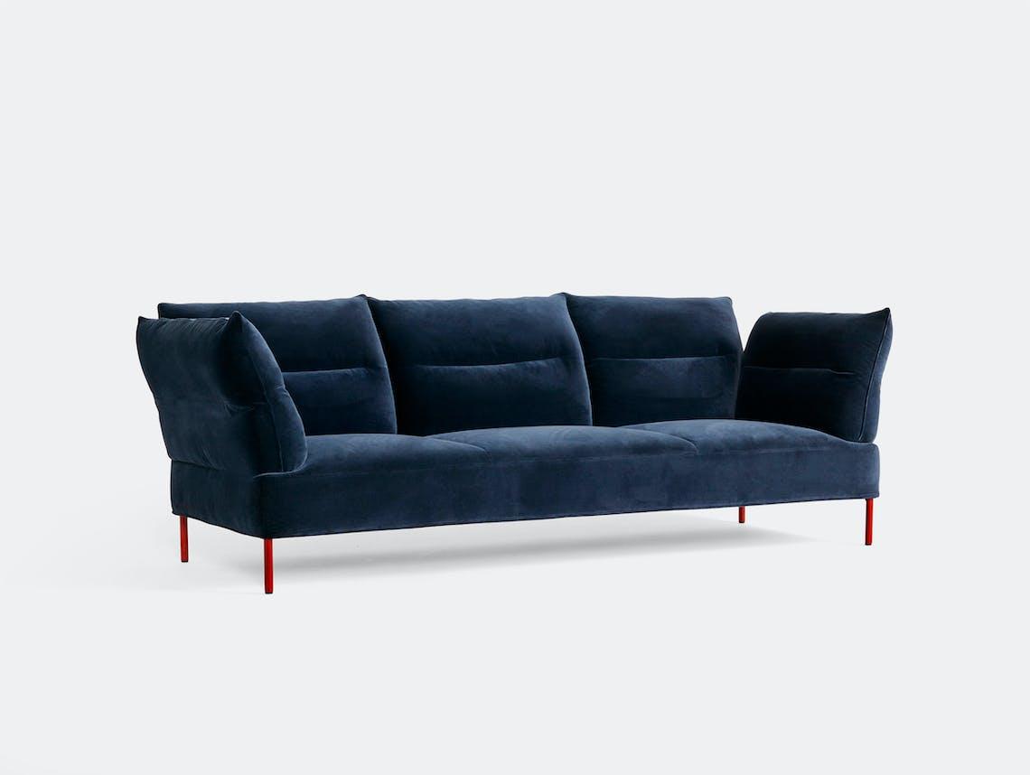 Hay Pandarine 3 Seater w reclining armrest Lola navy maroon red stained oak base