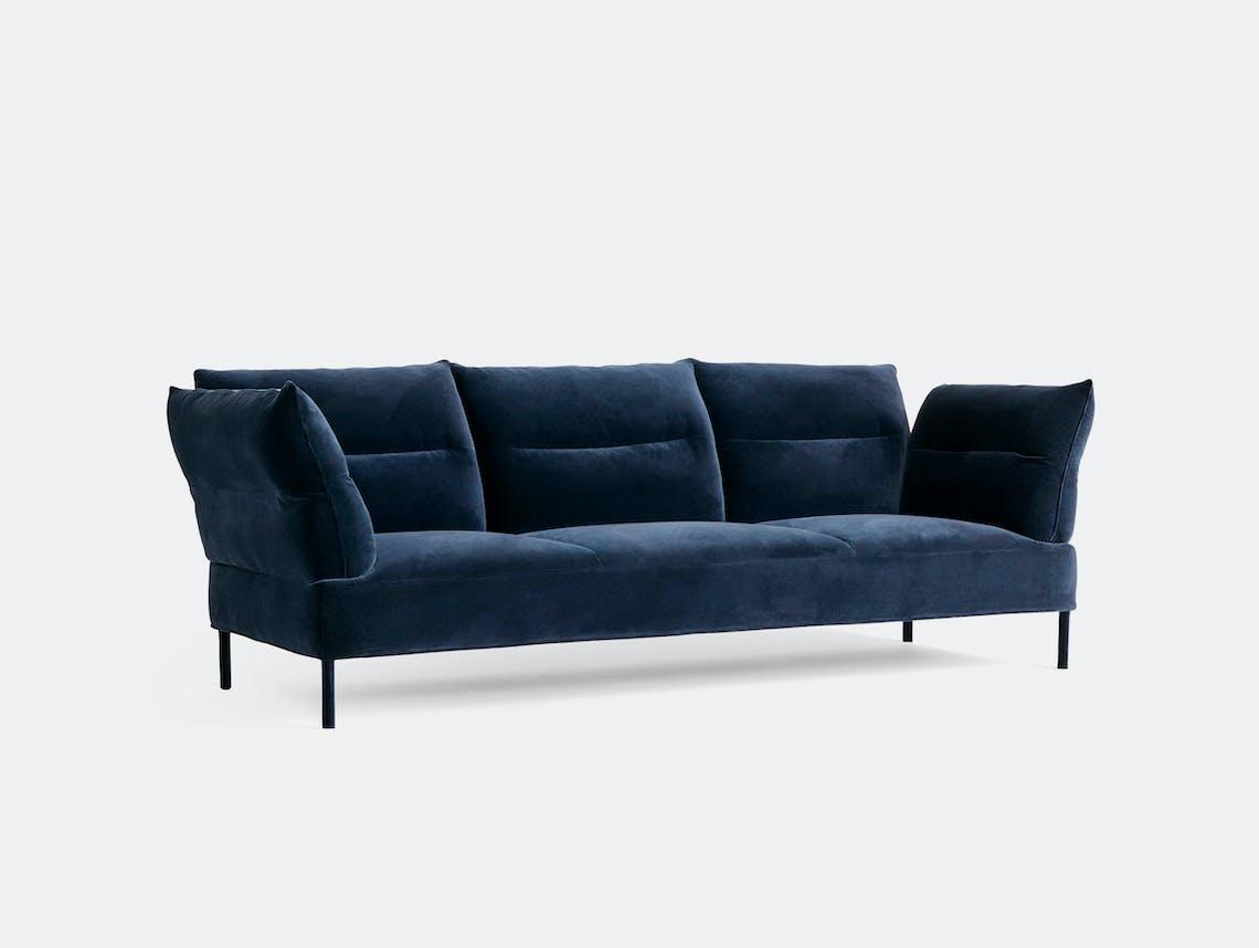 Hay Pandarine 3 Seater w reclining armrest Lola navy maroon red stained oak base uph legs