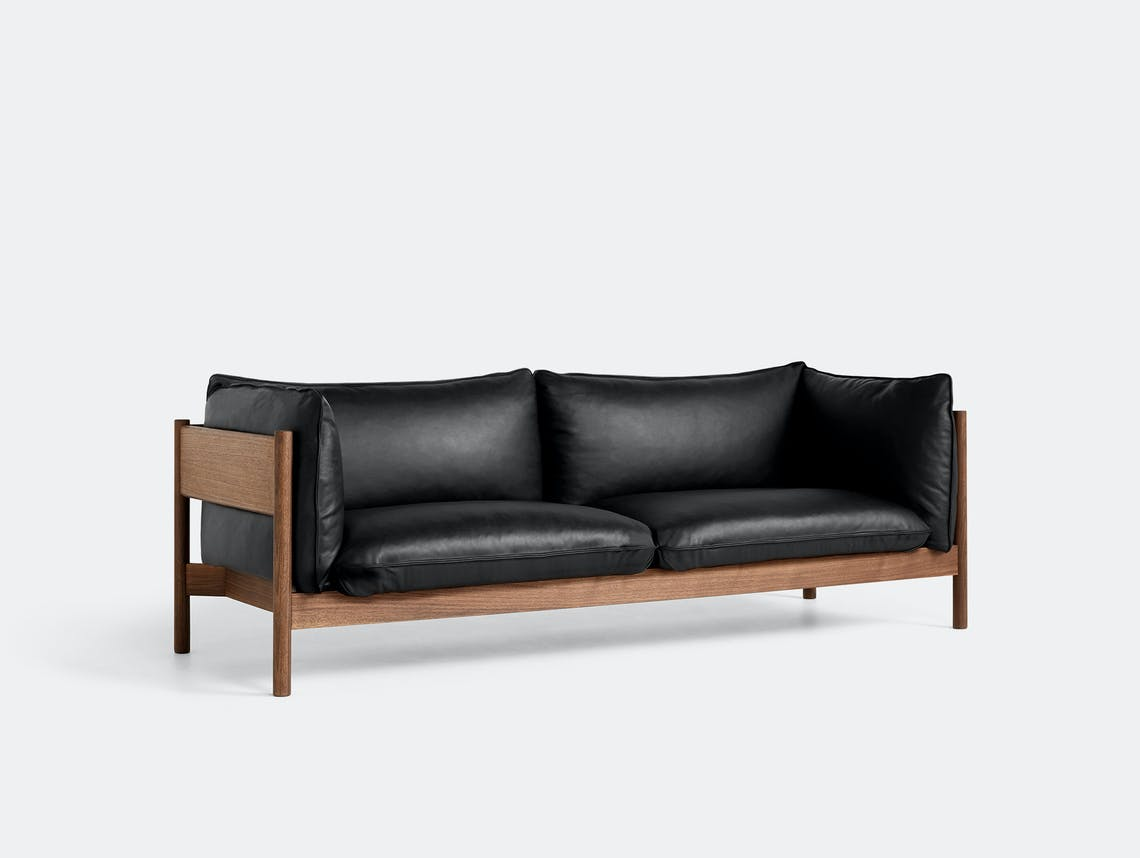 Hay arbour 3 seater sofa blk leath walnut