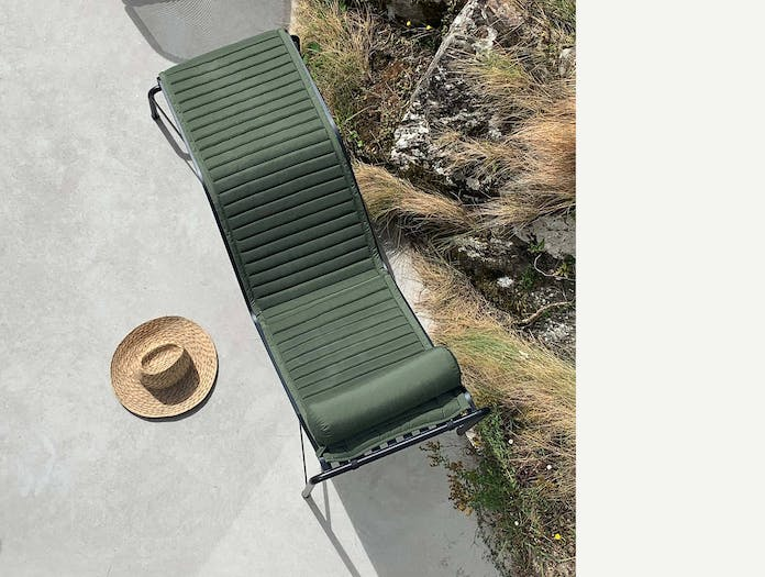 Hay palissade chaise longue quilted cushion bolster sky olive green