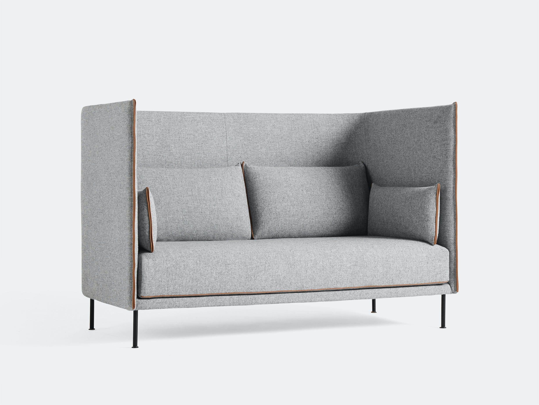 Hay silhouette sofa 2 seater high hallingdal 130 cognac piping black base