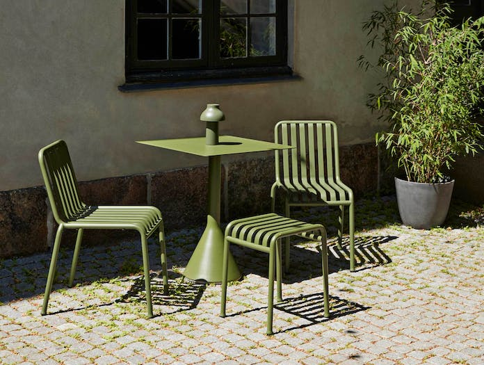 HAY palissade cone table square olive ls