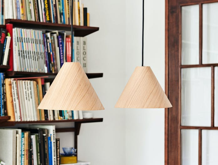Hay 30 Degrees Pendant Light M Oak Matt Lacquer Black Cord