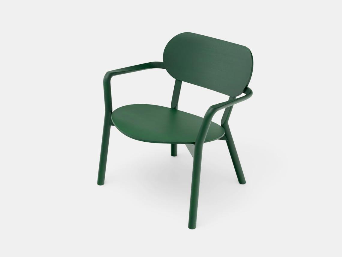 Karimoku Castor Low Chair Green Big Game