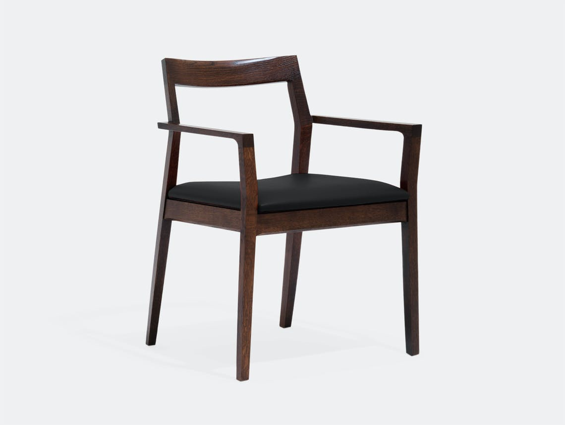 Knoll Krusin Side Chair Walnut Stained Leather Seat