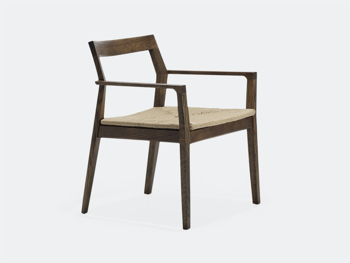 Knoll Krusin Side Chair Walnut Stained Woven Seat
