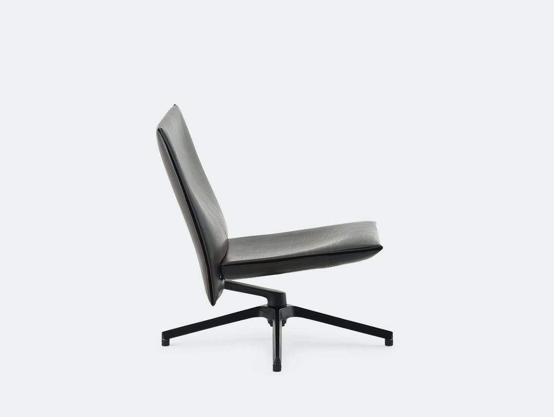 Knoll Pilot Lounge Chair Low Black Leather Edward Barber Jay Osgerby