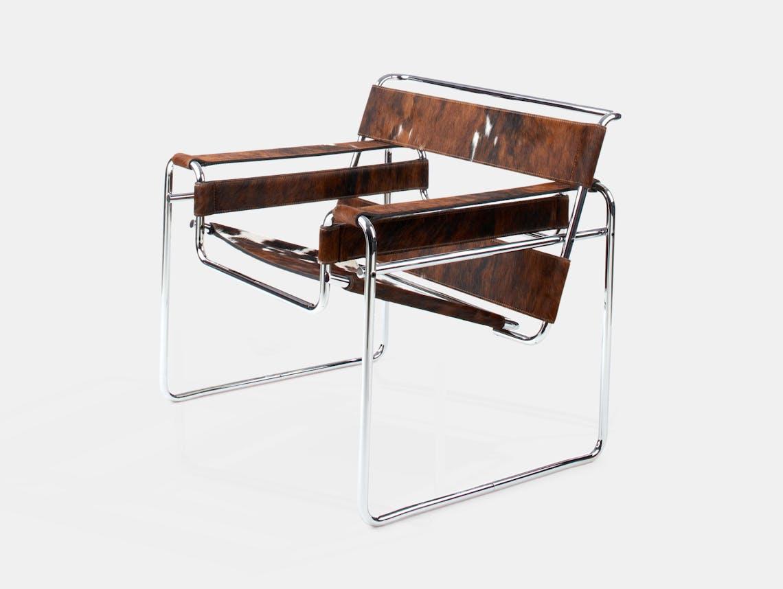 Knoll Wassily Chair Tri Col Hide Marcel Breuer