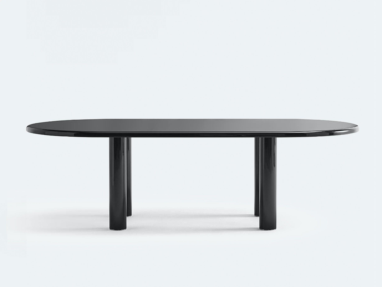 Knoll smalto oval table black