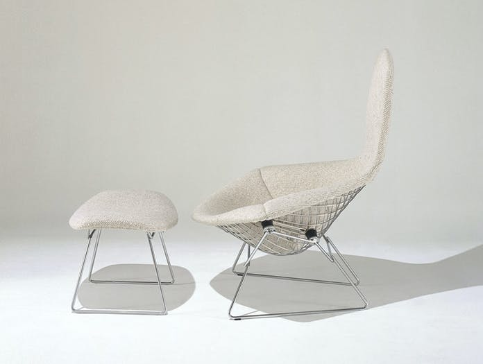 Knoll Harry Bertoia Bird Chair And Footstool Side